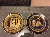 Greek Plates - pair - hand made - 24k gold