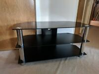 """TV Stand - Black Glass - Mint condition - 50"""" TV and Below"""