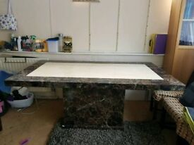 MARBLE DINING TABLE TWO TONE WITH SIX CHAIRS