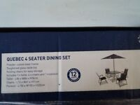 Brand new Quebec Steel Marquee 4 Seater Garden Furniture Dining Set