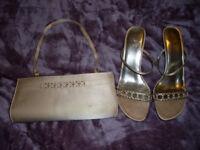 Matching heeled shoes and handbag