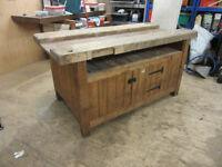 Carpenters Workbench in old pine with beech top and built in storage