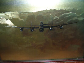 """FRAMED PICTURE (PRINT) OF WELLINGTON BOMBER , APPROXIMATELY 21"""" WIDE X 18"""" DEEP"""