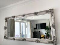 Elegant Silver Ornate Large Mirror for Sale
