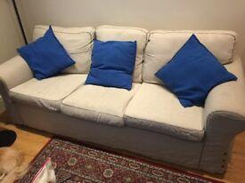 IKEA Cream Fabric Three Seater Sofa - £45
