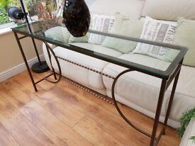 Glass long hall table