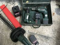 Cordless Metabo hedge trimmer and two drills