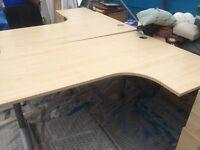 Single corner office desk & pedestal