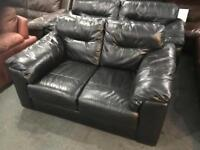 Small black leather 3 and 2 sofas
