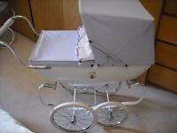 White Silver Cross Dolls Pram with Lilac hood and apron