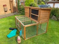 Large Rabbit or Guinea Pig Hutch with Built in Run ( can deliver) + Several Extras