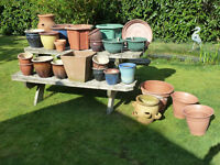 Assorted Patio pots including hanging baskets and multi planting pots