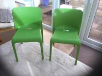 PAIR OF GREEN PLASTIC CLASSROOM CHAIRS