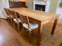 Reclaimed wood dining/kitchen table with 3x chairs