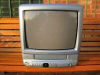 "BUSH 14"" PORTABLE COLOUR TV/VHS PLAYER PERFECT FOR RETRO GAMES CONSOLES"