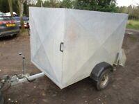 6-0 X 4-0 X 4-0 GALVANISED STEEL BOX TRAILER WITH LOCKING DOUBLE DOORS....