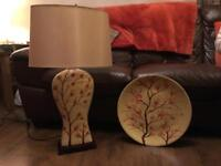 Poppy lamp and matching plate