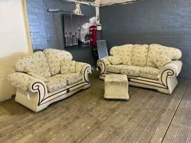 FABRIC SOFA SET 3+2 SEATER + FOOTSTOOL IN NICE CONDITION