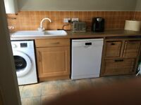 Kitchen - floor and wall units, worktops, sink and taps, oven and hob