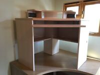 Computer Corner Desk with sliding drawer and shelves on top very solid construction