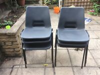 6 black plastic and metal chairs stackable