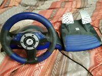 playstion 2 steering wheel and pedals - used condition
