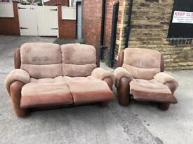 Brown fabric recliner suite