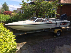 Fletcher Speedboat with 60hp Evinrude outboard and Snipe Trailer.