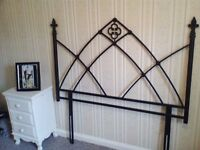 reduced in price for quick sale BLACK MATT METAL ORNATE DOUBLE BEDHEAD