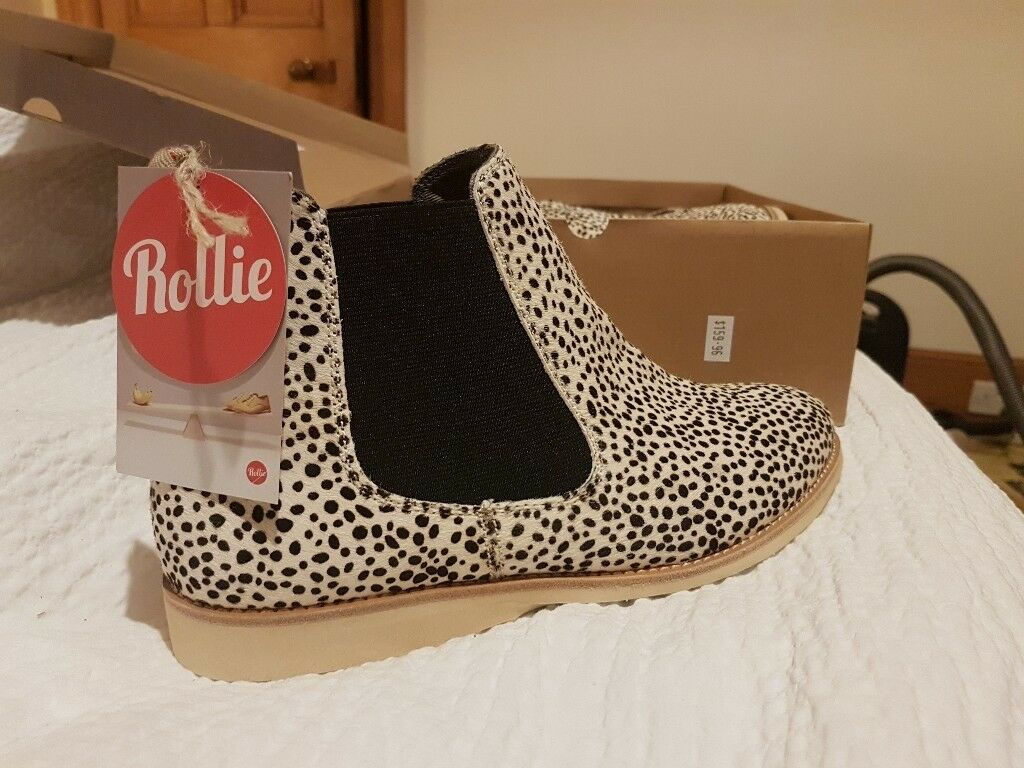 2587d8fdb396 Rollie Chelsea Boots - snow leopard print. Size 39 (uk 6) | in Forres ...
