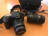 Canon 60D + 2 lenses, battery charge pack & camera bag for sale