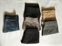 Men's trousers and jeans, sizes 28, 30, 32