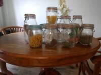 Assorted clip top kilner jars (11 total)