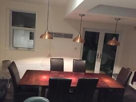 Solid wooden table (seats 6-10) & 6 leather chairs