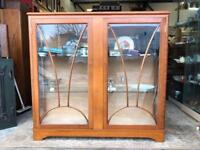 ART DECO WALNUT DISPLAY CABINET - ANTIQUE VINTAGE RETRO