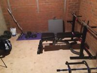 Weight bench squat rack and weights