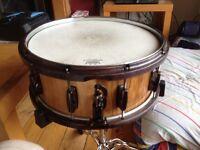 Custom Oak Stave Snare Drum. 14x5.5 with Hybrid maple/steel hoops.