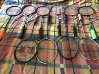 Job Lot of 10 Badminton Rackets, Shuttles and Strings