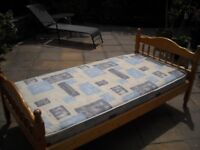single pine bed with mattress for sale
