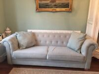 Stunning chesterfield fabric duck egg 3 seater sofa. Used but in excellent condition.