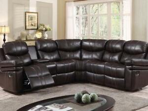 Stunning Brown Motion Sectional Recliner Set on Sale (KW2004)