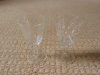 2 Crystal Sherry Glasses Glassware