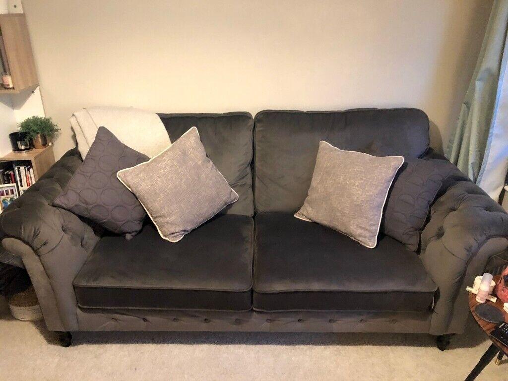 Ikea Grevie 3 Seat Sofa In Velvet Grey