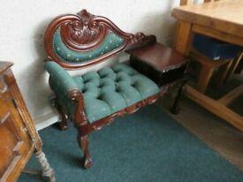 Ornate Carved Mahogany Telephone Seat