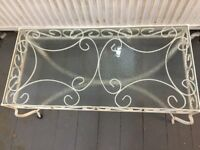 Wrought iron and glass top conservatory coffee table