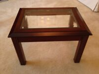 Glass top Coffee table / side table, Mahogany colour
