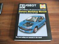 Haynes workshop manual for Peugeot 206