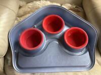 3 Bowl Dog Food Tray