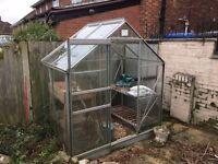 Greenhouse 6ft x 4ft glass single sliding door