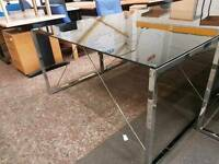 Glass topped computer tables